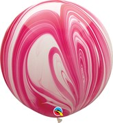 "Red & White SuperAgate 30"" (2.5ft) Latex Balloons 2pk"