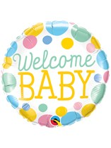 """Welcome Baby Dots 18"""" Foil Balloon"""