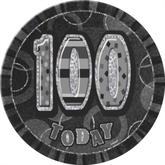 "Birthday Glitz Prismatic ""100 Today"" Big Badge - Black & Silver"
