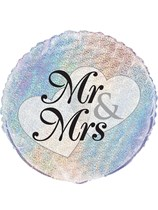 "Mr & Mrs Holographic 18"" Foil Balloon"