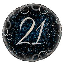 "Blue Glitz 21st Birthday 18"" Foil Balloon"