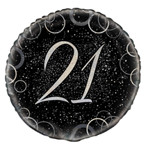 "Silver Glitz 21st Birthday 18"" Foil Balloon"