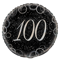 "Silver Glitz 100th Birthday 18"" Foil Balloon"