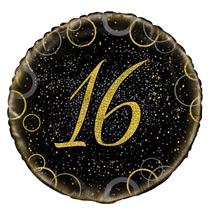 "Gold Glitz 16th Birthday 18"" Foil Balloon"