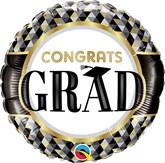 "Congrats Grad Black & Gold 18"" Foil Balloon"