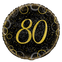 "Gold Glitz 80th Birthday 18"" Foil Balloon"