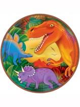 Prehistoric Dinosaur Metallic Paper Plates 8pk