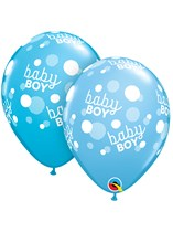 "Baby Boy Blue Dots A Round 11"" Latex Balloons 25pk"