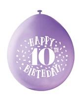Assorted Colour 10th Birthday Latex Balloons 10pk