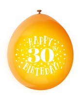 Assorted Colour 30th Birthday Latex Balloons 10pk