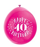 Assorted Colour 40th Birthday Latex Balloons 10pk