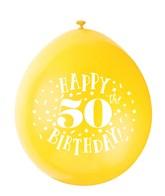 Assorted Colour 50th Birthday Latex Balloons 10pk