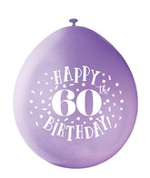 Assorted Colour 60th Birthday Latex Balloons 10pk