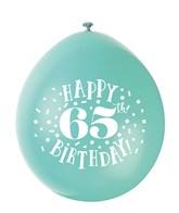 Assorted Colour 65th Birthday Latex Balloons 10pk