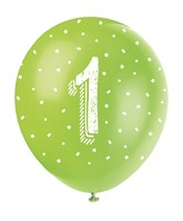 Pearlised Assorted Colour 1st Birthday Latex Balloons 5pk