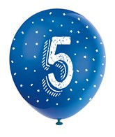 Pearlised Assorted Colour 5th Birthday Latex Balloons 5pk