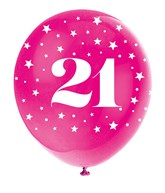 Pearlised Assorted Colour 21st Birthday Latex Balloons 5pk
