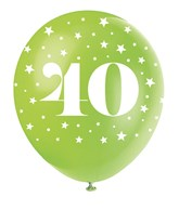 Pearlised Assorted Colour 40th Birthday Latex Balloons 5pk