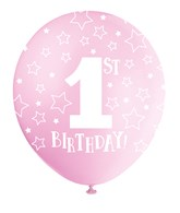 Pearlised Pink 1st Birthday Latex Balloons 5pk