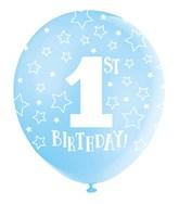 Pearlised Blue 1st Birthday Latex Balloons 5pk
