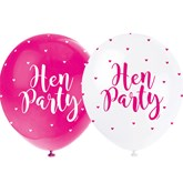 """Pearl Pink and White 12"""" Hen Party Latex Balloons 5pk"""