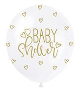 """Pearl White 12"""" Gold Baby Shower Latex Balloons 5pk"""