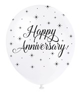 "Pearl White 12"" Happy Anniversary Latex Balloons 5pk"