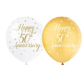 "Pearl White and Gold 12"" 50th Anniversary Latex 5pk"
