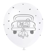 "Pearl White 12"" Just Married Latex Balloons 5pk"