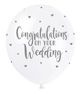 "Pearl White 12"" Wedding Congratulations Latex 5pk"