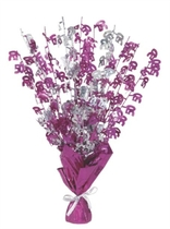 """Birthday Glitz Age 50 Foil Balloon Weight Centrepiece 16.5"""" - Pink"""