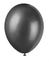 "12"" Ink Black Pearlized Latex Balloons - 50pk"