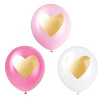 Valentines Gold Heart Printed Latex Balloons 6 Pack