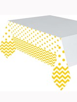 Yellow Chevron & Dots Plastic Tablecover