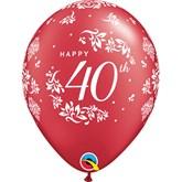 "40th Anniversary 11"" Pearl Red Latex 6pk"