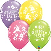 "Easter Bunnies and Daisies 11"" Latex Balloons 25pk"