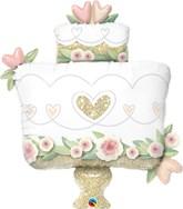 "Gold Glitter Wedding Cake 41"" Foil Balloon"