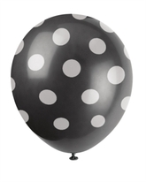 6 Decorative Dots Midnight Black Latex Balloons