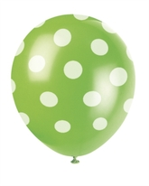 6 Decorative Dots Lime Green Latex Balloons