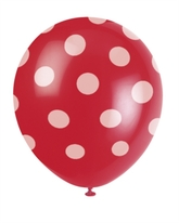 6 Decorative Dots Ruby Red Latex Balloons