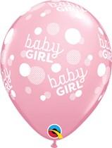 "Baby Girl Dots Around Pink 11"" Latex Balloons 6pk"