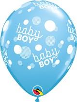 "Baby Boy Dots Around 11"" Pale Blue Latex Balloons 6pk"
