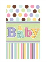 "Baby Spots and Stripes Plastic Tablecover (54"" x 102"")"