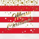 Gold Sparkle Christmas Napkins 16pk