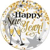 "Glittering New Year 7"" Paper Plates 8pk"