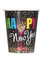 Happy New Year Confetti 9oz Paper Cups 8pk