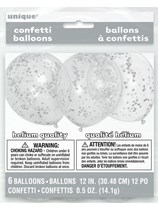 "Silver Latex 12"" Confetti Balloons 6pk"