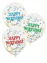 """Happy Birthday 12"""" Latex Confetti Balloons 6pk"""