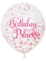 Birthday Princess Latex Confetti Balloons 6pk