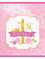 Pink & Gold 1st Birthday Party Bags 8pk